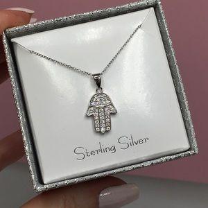 Jewelry - 14k white gold hamsa diamond silver necklace